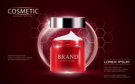 Ilustración de Cosmetic ads template, cream container mockup isolated on scarlet background. 3D illustration. bubble and hexagon elements. - Imagen libre de derechos