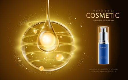 Ilustración de Cosmetic ads template, cosmetic spray bottle with pearl in the essence oil drop. 3D illustration for fashion magazine or ads. - Imagen libre de derechos