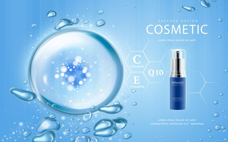 Illustration pour Moisturizing cosmetic ads template, 3D illustration cosmetic mockup with sparkling water drop over blue background - image libre de droit