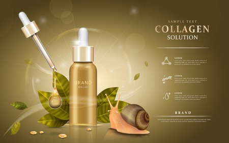 Illustration for Snail extract cosmetic ads, droplet bottle with ingredients - snail and leaves. 3D illustration. - Royalty Free Image