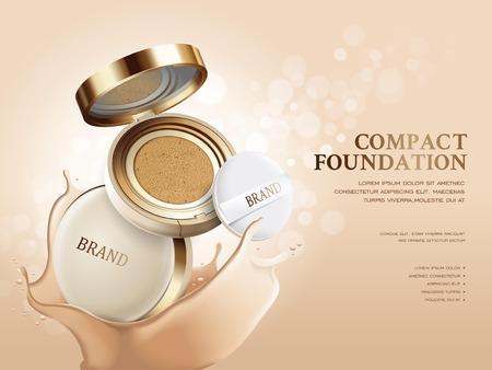 Illustration for Elegant compact foundation ads, 3d illustration foundation product with its texture splash on the background - Royalty Free Image