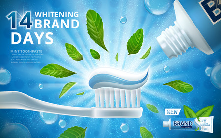 Ilustración de Whitening toothpaste ads, mint leaves flavour toothpaste on toothbrush with sparkling effect on the background in 3d illustration - Imagen libre de derechos