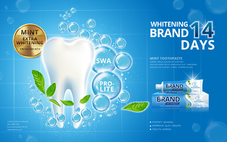 Ilustración de Whitening toothpaste ads, sparkling white tooth with mint leaves and bubbles isolated on blue background in 3d illustration - Imagen libre de derechos