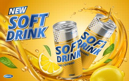 Illustration pour soft drink lemon flavor contained in yellow metal can, orange background and flows - image libre de droit