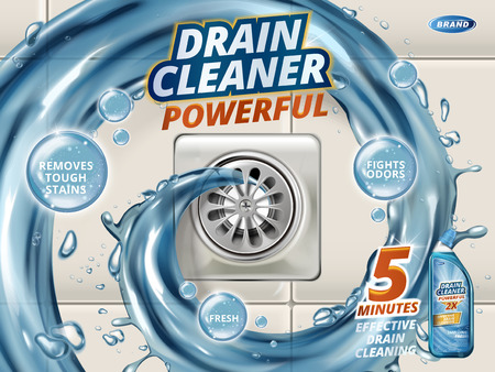 Ilustración de Drain cleaner ads, liquid flushing into drain, detergent bottle with effects written on bubbles isolated on floor in 3d illustration - Imagen libre de derechos