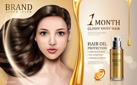 Illustration for hair oil protection contained in bottle with model face, golden background 3d illustration - Royalty Free Image