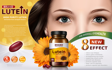Illustration pour high purity lutein contained in jar with calendula elements and model face, 3d illustration - image libre de droit