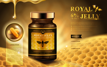 Illustration for royal jelly ad with capsules, honeycomb, and dropping fluid, golden background 3d illustration - Royalty Free Image