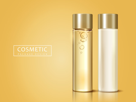 Ilustración de blank cosmetic bottles for design uses, can be used as design elements, golden background 3d illustration - Imagen libre de derechos