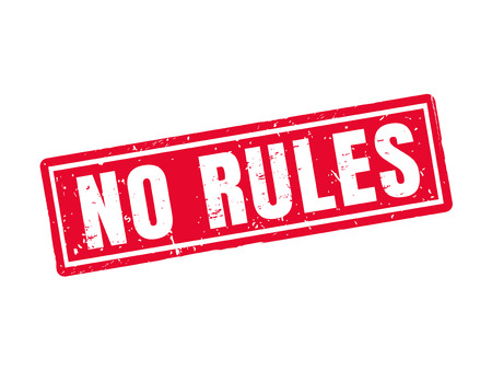 Illustration pour No rules in red stamp style, white background - image libre de droit