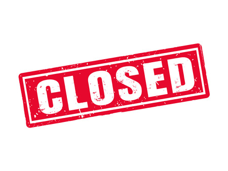 Illustration for Closed in red stamp style, white background - Royalty Free Image