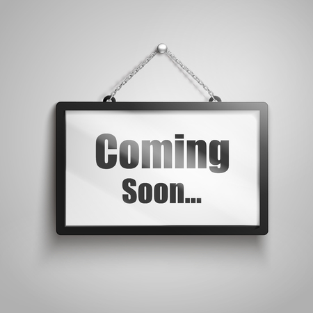 Illustration pour Coming soon text on hanging sign, isolated gray background 3d illustration - image libre de droit