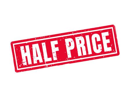 Ilustración de half price in red stamp style, white background - Imagen libre de derechos