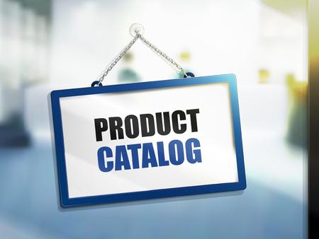 Illustration pour 3D illustration of product catalog text on hanging sign. - image libre de droit