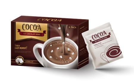 Ilustración de Hot chocolate paper box package design, isolated white background, 3d illustration - Imagen libre de derechos