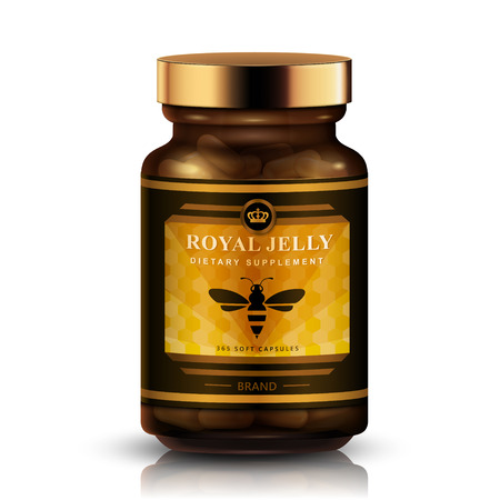 Illustration for Royal jelly package design, labeled bottle isolated white background, 3d illustration - Royalty Free Image