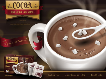 Ilustración de Hot chocolate drink advertisement, with spoon, small marshmallows and blurred background, 3d illustration - Imagen libre de derechos