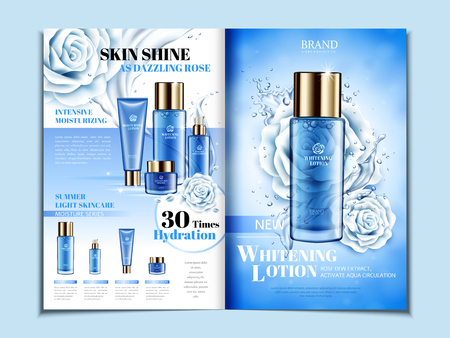 Ilustración de Blue cosmetic themed bi fold brochure design with roses, can also be used on catalogs or magazines, 3d illustration. - Imagen libre de derechos