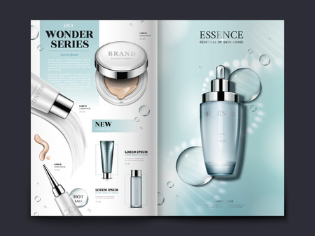Illustration pour Light blue cosmetic brochure design with helical structure and water drops, can also be used on catalogs or magazines, 3d illustration. - image libre de droit