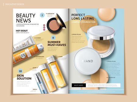 Ilustración de Bi fold brochure featuring cosmetic and sun proof products, can be used on magazine or catalogs, 3d illustration. - Imagen libre de derechos