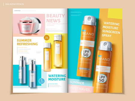 Ilustración de Bi fold colorful brochure featuring skincare and sun proof products, can be used on magazine or catalogs, 3d illustration - Imagen libre de derechos