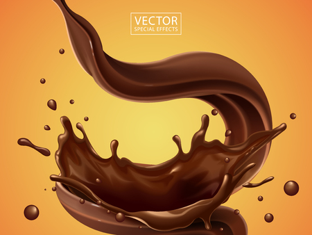 Illustration pour Splashing and whirl chocolate liquid for design uses isolated on warm background in 3d illustration - image libre de droit