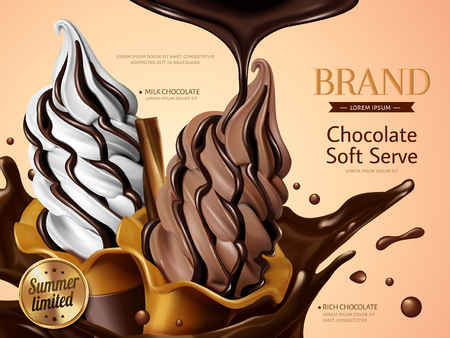 Ilustración de Milk and chocolate soft serve ice cream ads, realistic soft serve with splashing premium chocolate liquid for summer in 3d illustration - Imagen libre de derechos