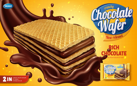 Ilustración de Chocolate wafer ads, crunchy cookies with chocolate syrup splashing in the air isolated on yellow halftone background in 3d illustration - Imagen libre de derechos