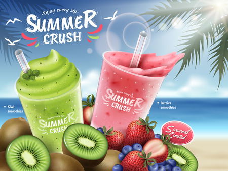 Ilustración de Fruit smoothies ads, kiwi and berries smoothie cup and bunch of fruits isolated on bokeh beach background in 3d illustration - Imagen libre de derechos