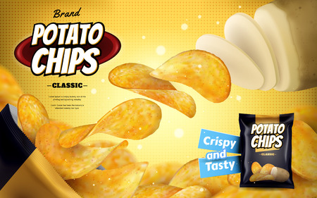 Ilustración de Potato chip ads, classic flavour chips flying out from foil bag isolated on yellow halftone background in 3d illustration - Imagen libre de derechos