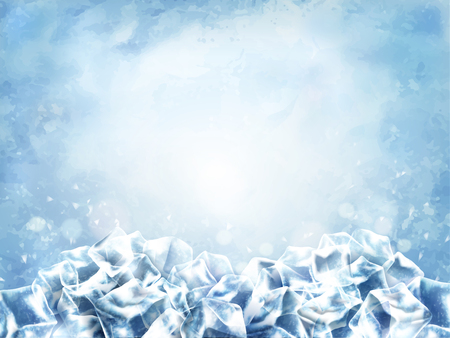 Illustration pour Icy cube background, abstract cubes and snow in light blue background, 3d illustration - image libre de droit