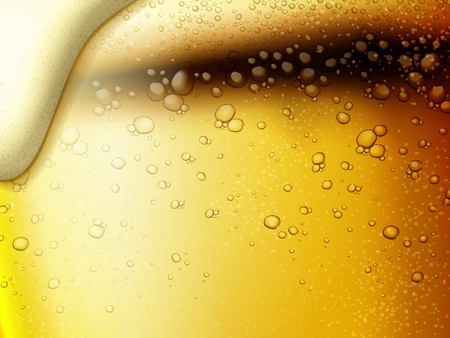 Illustrazione per Refreshing fizzy beer background, extremely close up at golden color beer and bubbles in 3d illustration - Immagini Royalty Free