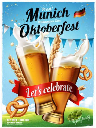 Illustration for Oktoberfest festival poster with splashing beer with pretzel and wheats. - Royalty Free Image
