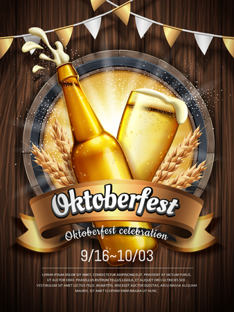 Illustration pour Oktoberfest beer festival poster with refreshing beverage isolated on wooden plank. - image libre de droit