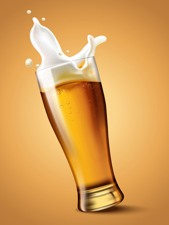 Illustration pour Beer in glass cup, refreshing drink with white foam in 3d illustration, splashing beer - image libre de droit