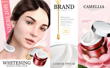 Ilustración de Whitening moisture ads, charming models with cream texture product, 3d illustration - Imagen libre de derechos