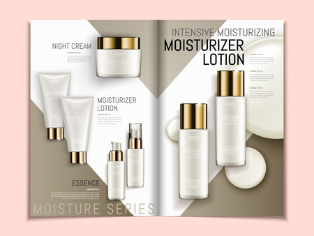 Illustration for Skin care brochure template, series of pearl white cosmetic products on geometric background magazine or catalog in 3d illustration, top view of mockups - Royalty Free Image