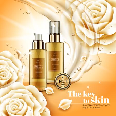 Ilustración de Moisturizing essence ads, hygiene product with flowing liquids and its ingredients - white rose, 3d illustration - Imagen libre de derechos