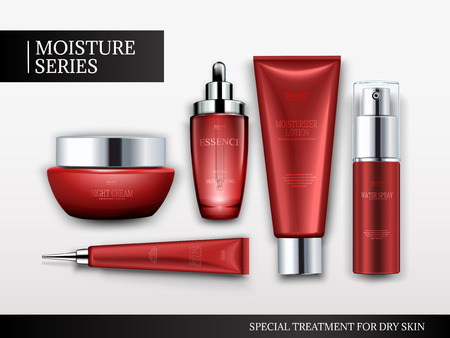 Illustration pour Cosmetic container mockup set, top view of red tubes and jars isolated on white background, 3d illustration - image libre de droit