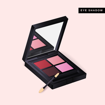 Ilustración de Eye shadow mockup, close up look at makeup product in 3d illustration isolated on pink background - Imagen libre de derechos