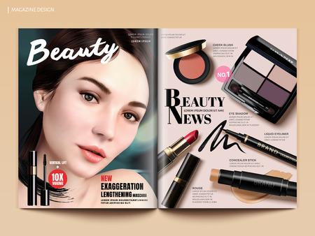Ilustración de Beauty magazine design, set of makeup products mockup with charming model portrait in 3d illustration, magazine or catalog brochure template for design uses - Imagen libre de derechos