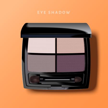 Ilustración de Modern eye shadow palette, purple tone eye shadow mockup in 3d illustration, top view of cosmetic product on orange background - Imagen libre de derechos