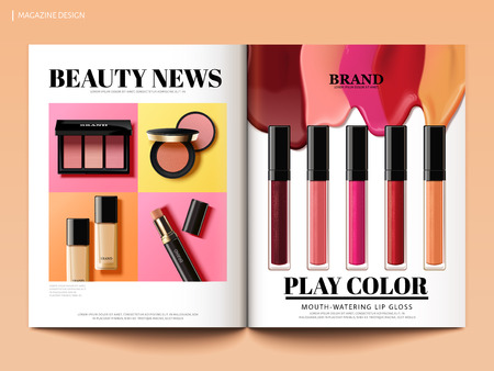 Ilustración de Beauty magazine design, colorful and trendy make up product news in 3d illustration, magazine or catalog brochure template for design uses - Imagen libre de derechos