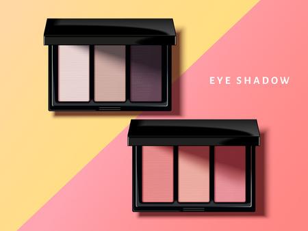 Ilustración de Modern eye shadow palette, pink and purple tone eye shadow mockup in 3d illustration, geometric background - Imagen libre de derechos