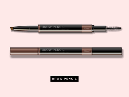 Illustration pour Eyebrow pencil mockup, close up look at makeup product in 3d illustration isolated on pink background - image libre de droit