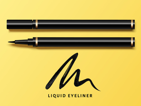 Ilustración de Liquid eyeliner set, top view of eyeliner product mockup for cosmetic use in 3d illustration, isolated on yellow background with black stroke - Imagen libre de derechos
