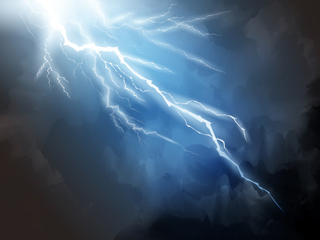 Ilustración de Blue lightning background, natural phenomenon 3d illustration for design uses - Imagen libre de derechos