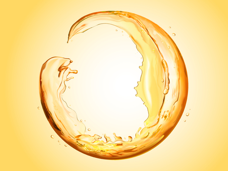 Ilustración de Round sphere made of flowing liquid, transparent liquid splashes for design uses in 3d illustration, orange tone - Imagen libre de derechos