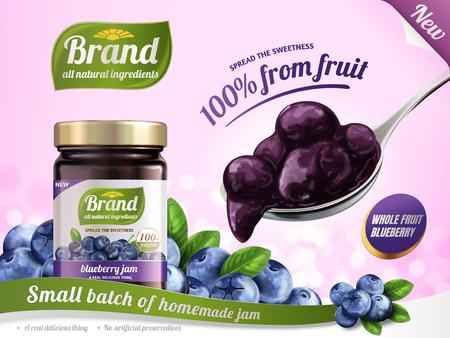 Ilustración de Blueberry jam advertisement illustration. - Imagen libre de derechos
