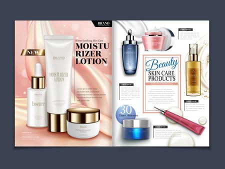 Ilustración de Skincare magazine template, moisturizing set isolated on soft satin background in 3d illustration - Imagen libre de derechos